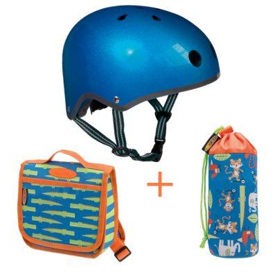 Komplet kaciga plava S & ruksak & držak za bocu džungla