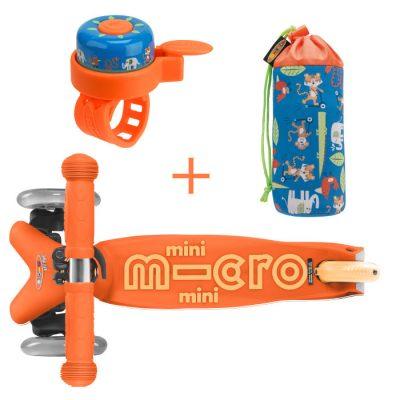 Komplet romobil mini narančasti & držak za boce & zvono džungla