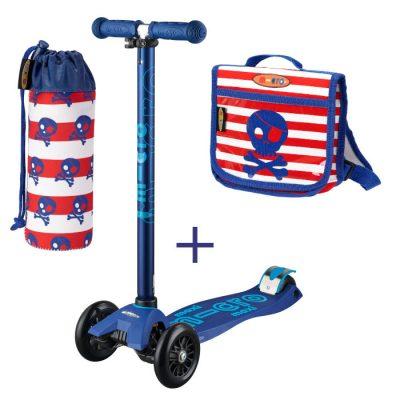 Komplet romobil maxi plavi & ruksak & držak za boce gusari