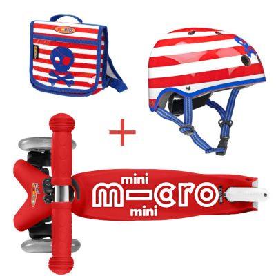 Komplet romobil mini crveni & ruksak & kaciga S pirati